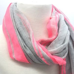 Accessories - Neon pink and grey striped scarf